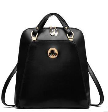 2016 Fashion Women Backpack Genuine Leather Black Shoulder Bag Big ...