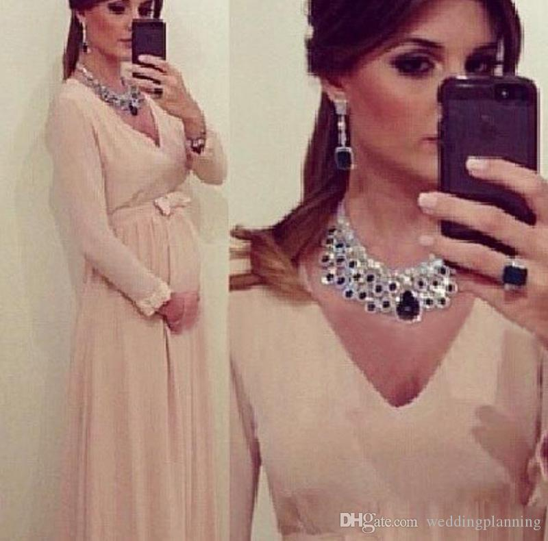 Pink Chiffon A Line Prom Dresses With Long Sleeves New Elegant V Neck Maternity Pregnant Clothing Sash Bow Special Occasion Gowns
