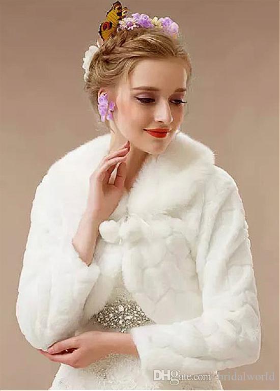Mangas largas bastante elegante abrigo de novia de piel sintética con pompón invierno capa de novia chal de piel sintética chaleco de novia Bolero chal de noche
