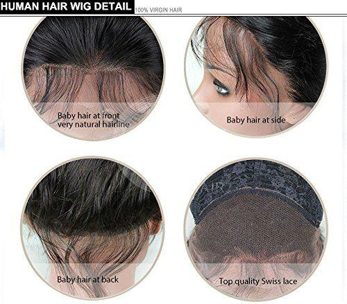 360 레이스 정면 180 % 밀도 브라질 버진 워터 물결 모양의 인간의 머리카락 가발 흑인 여성을위한 아기 머리카락 16 인치, 자연 색상