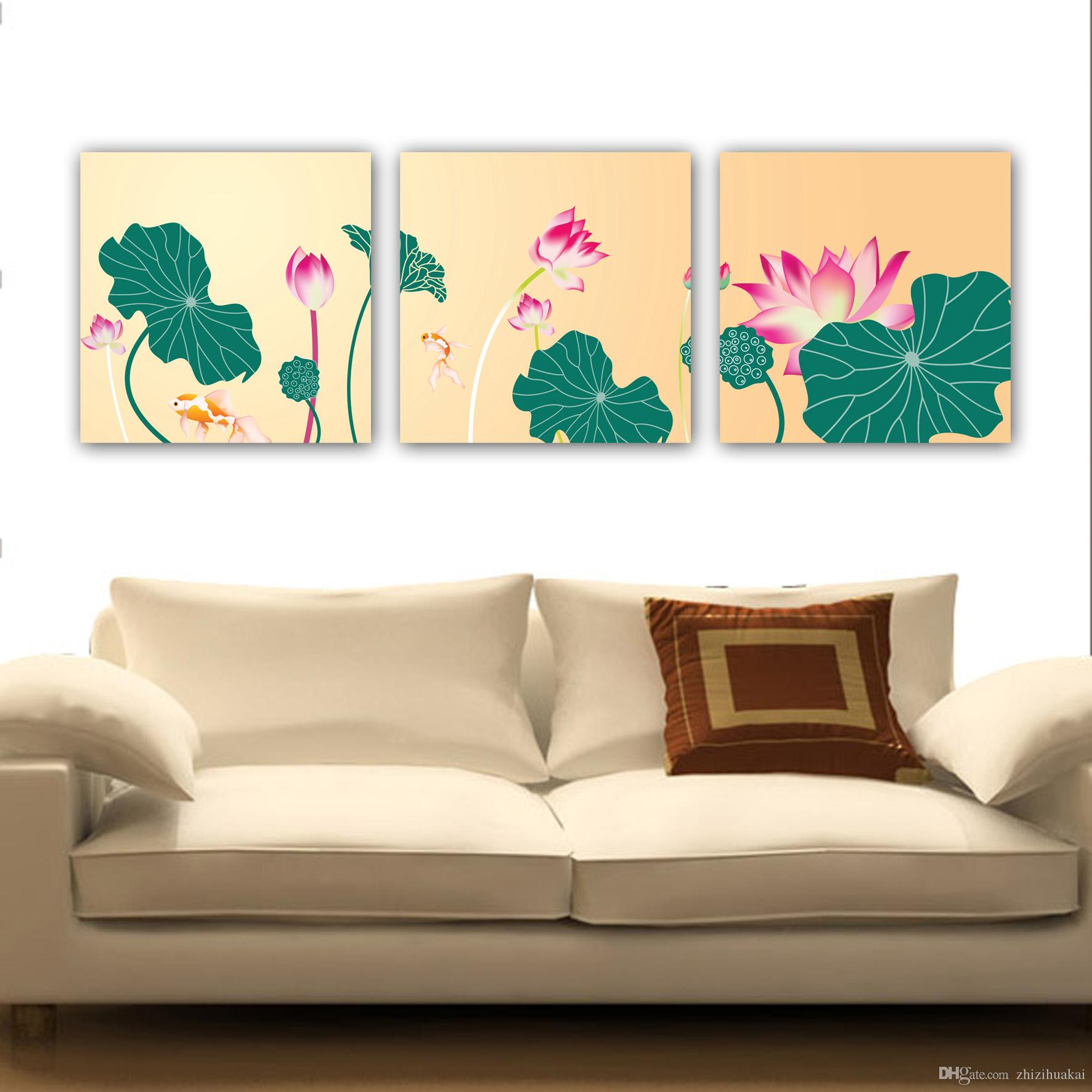 unframed art picture Home decoration Canvas Prints eagle Great Wall of China mountain Lotus leaf Abstract painting coconut tree sea