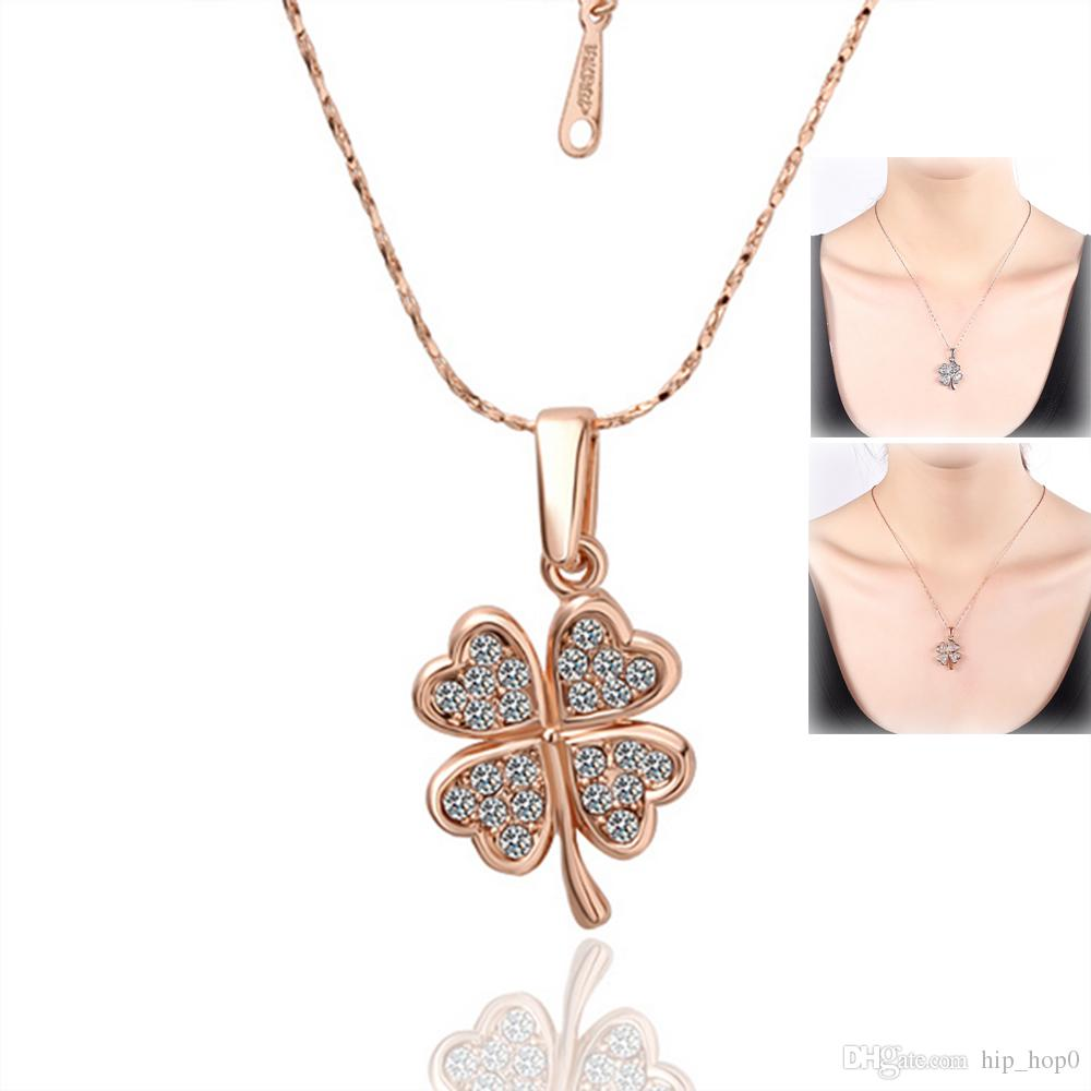 315a99c5ee5a2 Wholesale Rose Gold Austria Crystal Four Leaf Clover Charm Pendant Necklace  White Gold Plated 18K Gold Fashion Women Wedding Jewelry Lucky Gril Gifts  Garnet ...