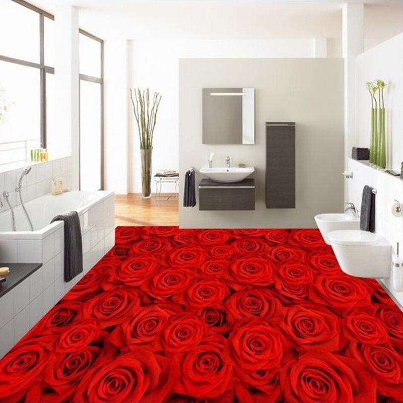 Custom 3d Wall Paper Floor Mural Romantic Red Roses Wedding Room Bedroom Bathroom Wallpaper Self Adhesive Murals Wallpapers In Hd