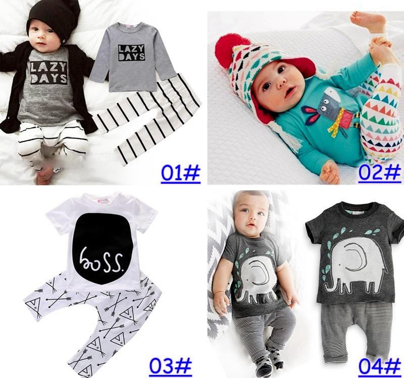 Yeni INS Bebek Erkek Kız Mektup Setleri Üst T-shirt + Pantolon Çocuk Yürüyor bebek Rahat Uzun Kollu Bahar Çocuk Kıyafetleri Giysileri Suits hediye