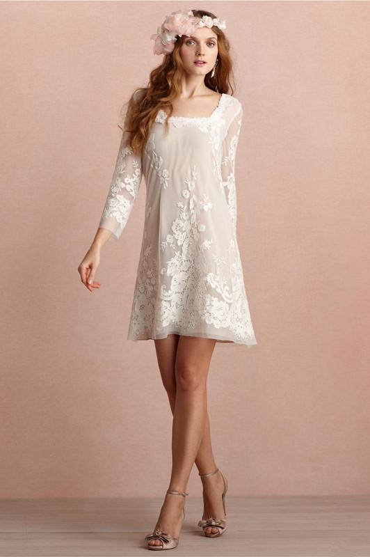 Mini vestidos de novia cortos Escote cuadrado Mangas largas Vestido de novia sin espalda Apliques de encaje Vestidos de novia de playa