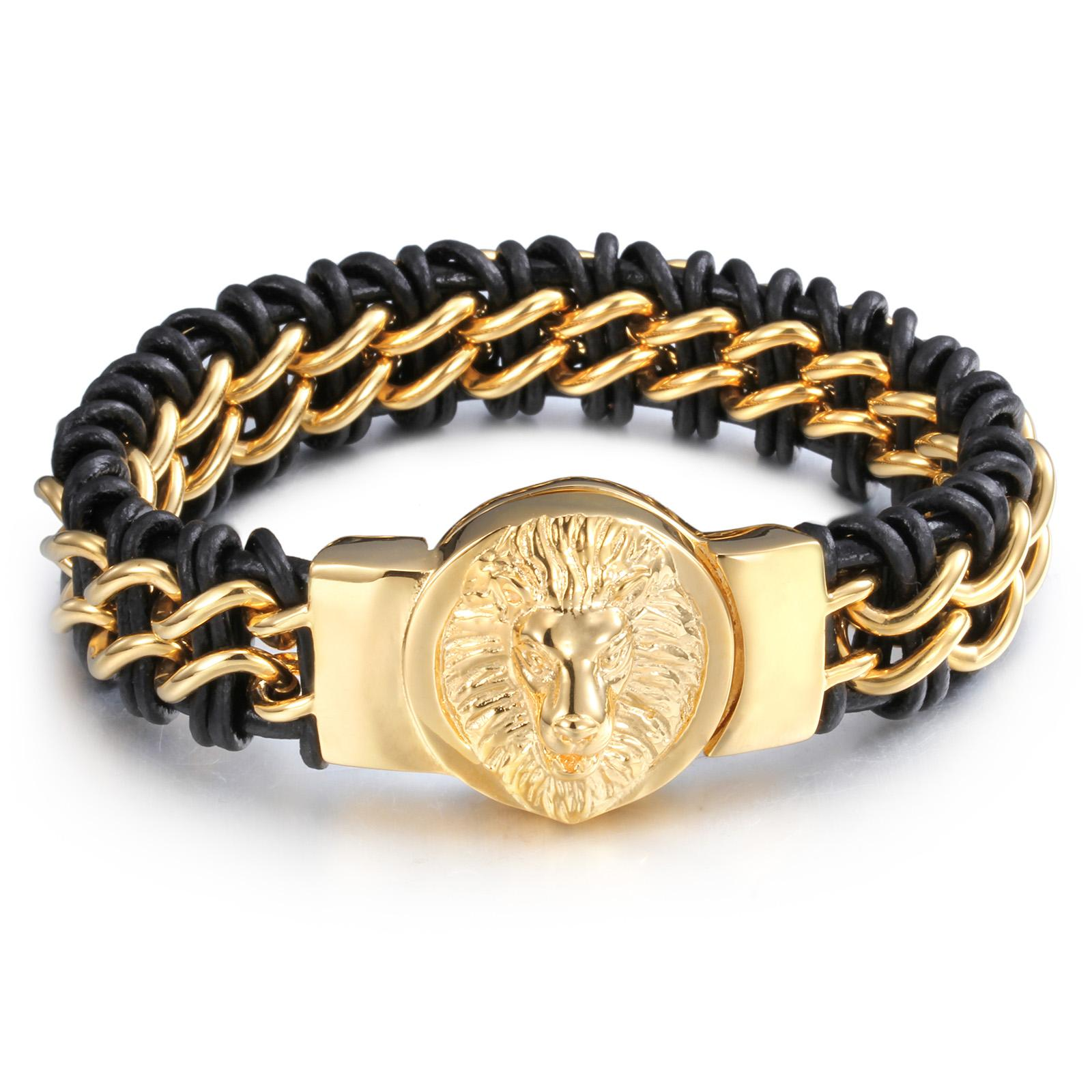 Fashion Handsome Jewelry Gothic Men's Braided Genuine Leather 316L Stainless Steel Biker Lion Head Chain Bracelet Bangle