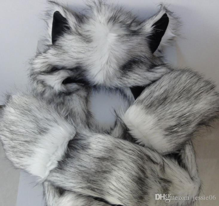 c3d1758b615 Faux Fur Animal Ears Hat Gloves Mittens Scarf Snood Hood Wolf Paws  Halloween Costume Caps Wonderful Gift Xmas Favor Polyester Canada 2019 From  Jessie06