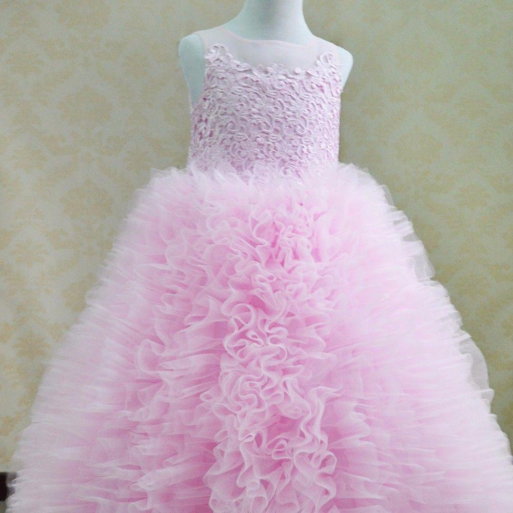 Compre Dulce Encaje Rosa Blanca Flor Niñas Vestidos Para Bodas ...