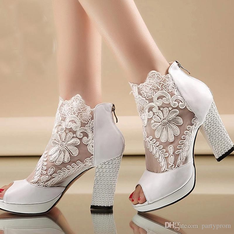 Personalized Wedding Slippers Bridal Party Slippers: New Fashion Peep Toe Summer Wedding Boots Sexy White Lace