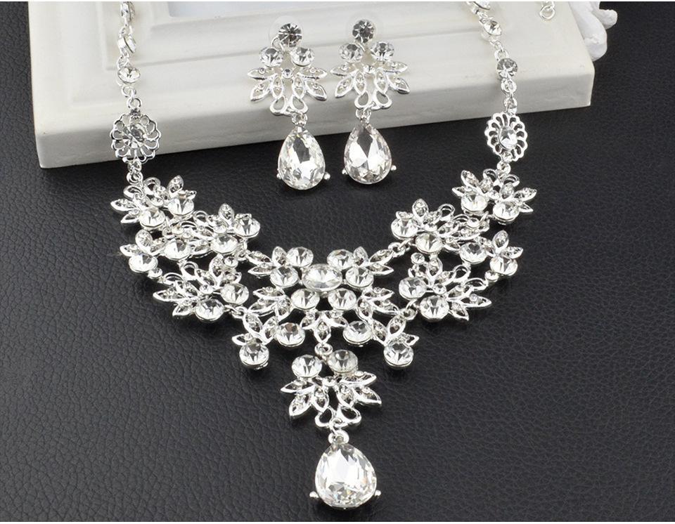 Western Rain Hot Sale Wedding Bride Jewelry Set Necklace Ring Earring Bracelete White Stone High Nice Quanlity In Western Afraca Q-AST08