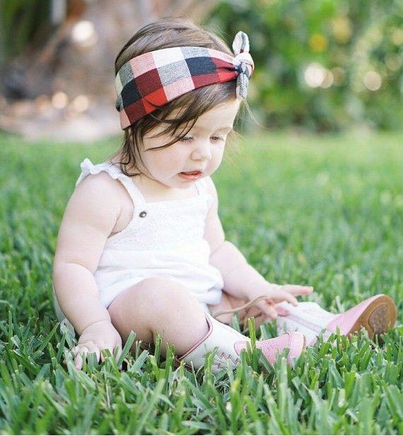 Baby Headbands Girls DIY Rabbit Ear Headband Kids Knotted Cotton Checkered Hairbands Children Infant Polka Dot Hair Accessories KHA357
