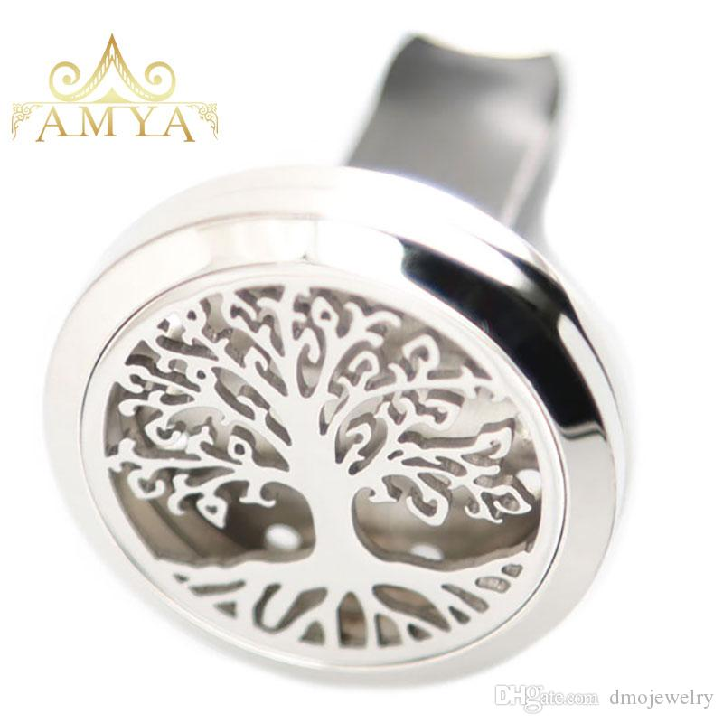Aromatherapy Essential Oil surgical 30mm Stainless Steel Pendant Perfume Diffuser Car Trees of Life Locket Include Felt Pads