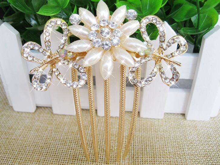 Bride hairpin Peacock pearl flowers Wedding crystal rhinestone pearl flower hairpin diamante clip hair comb pin comb