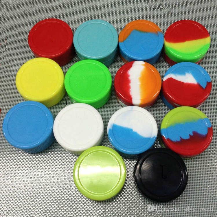 Contenedor de cera de silicona antiadherente 3 ml 5 ml Contenedores de silicona tarros de cera herramienta de dab aceite de almacenamiento de almacenamiento Caja de concentrado de concentrado para vaporizador vaporizador