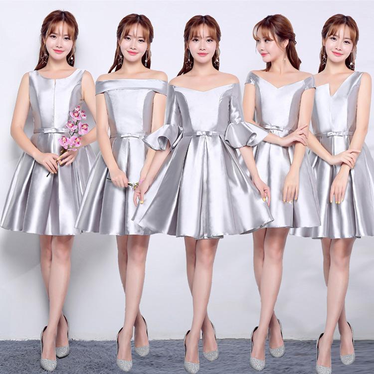 Satin Kurze Brautjungfernkleider Lace Up 2019 Knielangen Ballkleid Hochzeitsgast Kleider Lila Rot Silber