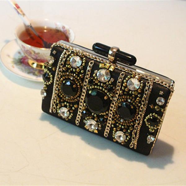 2016 nieuwste mode avond tassen luxe kralen kristallen steen zwart aantrekkelijke handtas schoudertassen koppeling van hoge kwaliteit