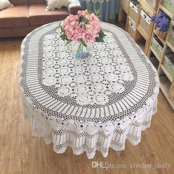 Gorgeous Crochet Pattern Tablecloth OVAL, Huge Size Table Cover Crochet,  Vintage Style Table Linen For Home Decor ~ Nice Gift For Mom