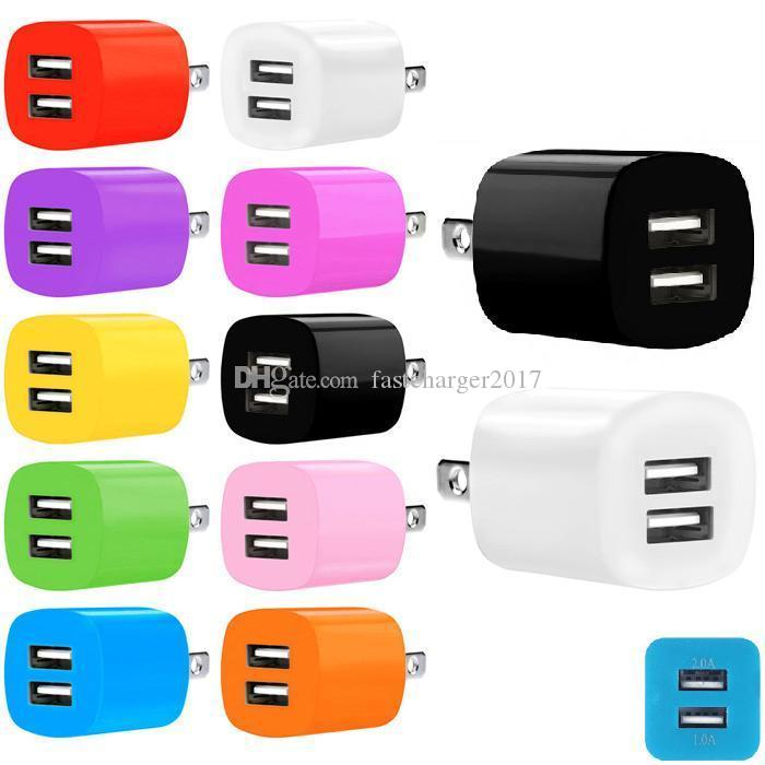 Ładowarki telefoniczne 2.1A Podwójne porty USB USU UE AC Home Carger Carger Adapter do iPhone Samsung S6 S7 Edge Smart Telefony