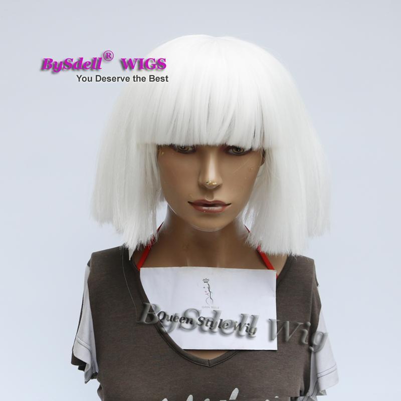 Celebridad de la venta caliente Lady Gaga Sia esto es actuando Peinado peluca peluca sintética de color blanco nieve peluca de pelo Corto pelucas del partido cosplay