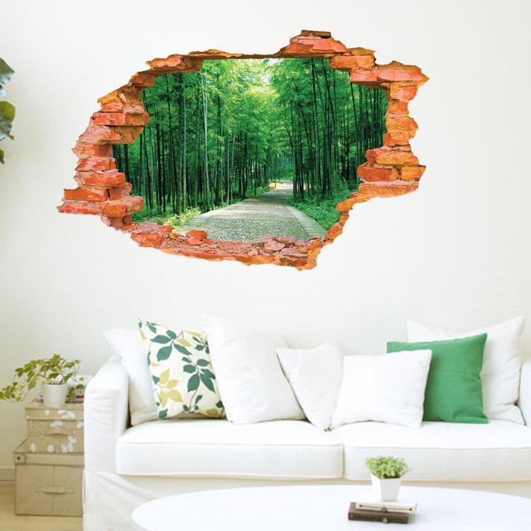 2016 Large Wall Sticker Tree Forest Landscape 3d Brick Decals Living Room  Bedroom Decoration Vinyl Wall Art Home Decor World Map Wall Sticker Zebra  Wall ...