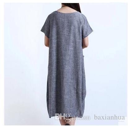 الجملة الفساتين عارضة المرأة القطن الكتان قصير كم طويل فضفاض فستان ماكسي فستان الشمس الملابس شحن مجاني