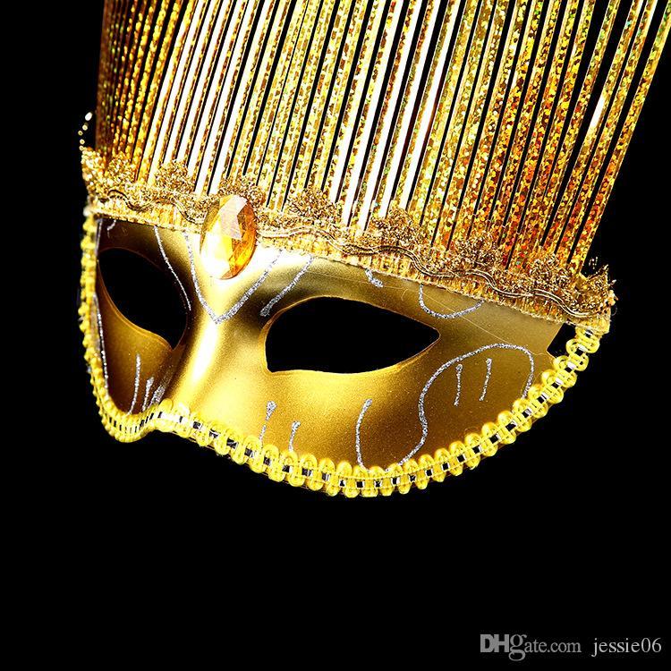 2016 HEIßER Halloween frauen maske wicker drizzlefine regen diamant Strass gold rot blau lila pvc maskerade party msak weihnachtsgeschenk