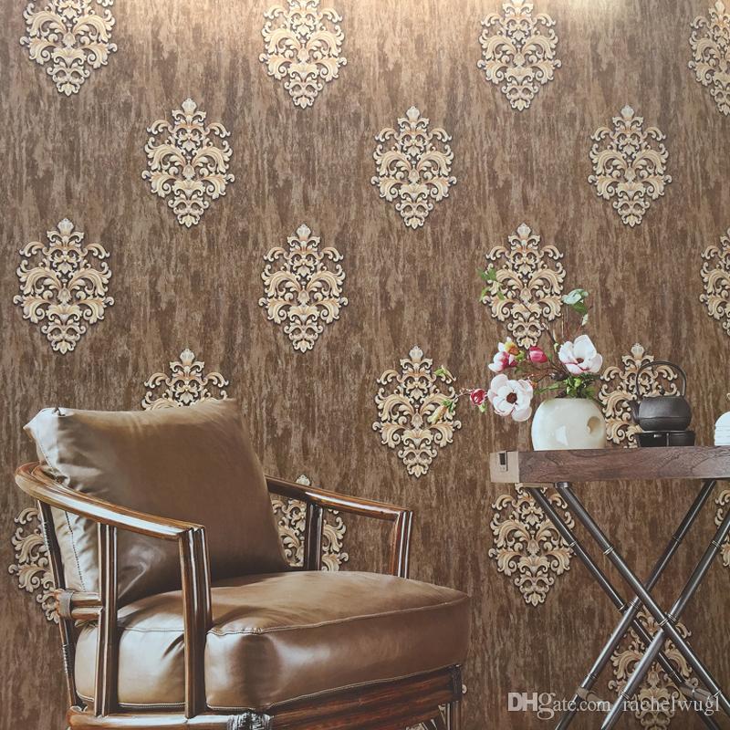 Acheter Haute Qualité Europe PVC Papier Peint Classique Papier Peint  Gaufrage Mur Papier Rouleau Damask Vinyle Papier Peint Pour La Décoration  De La Maison ...
