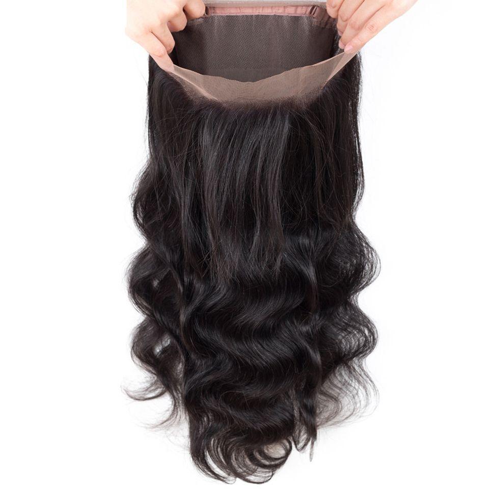 موجة الجسم البرازيلي الشعر مع إغلاق 360 الرباط أمامي 100 ٪ غير المجهزة البرازيلي بيرو الماليزية الشعر البشري الهندي مع إغلاق 360