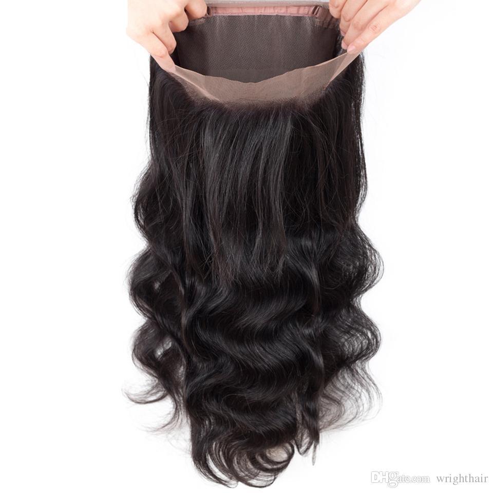 Brasilianisches Haar Gerade Körperwelle 3 Bundldes Reine Menschenhaar Bundles Mit 360 Spitze Frontal Verschluss Braziliann Peruanisches Malaysisches Haar