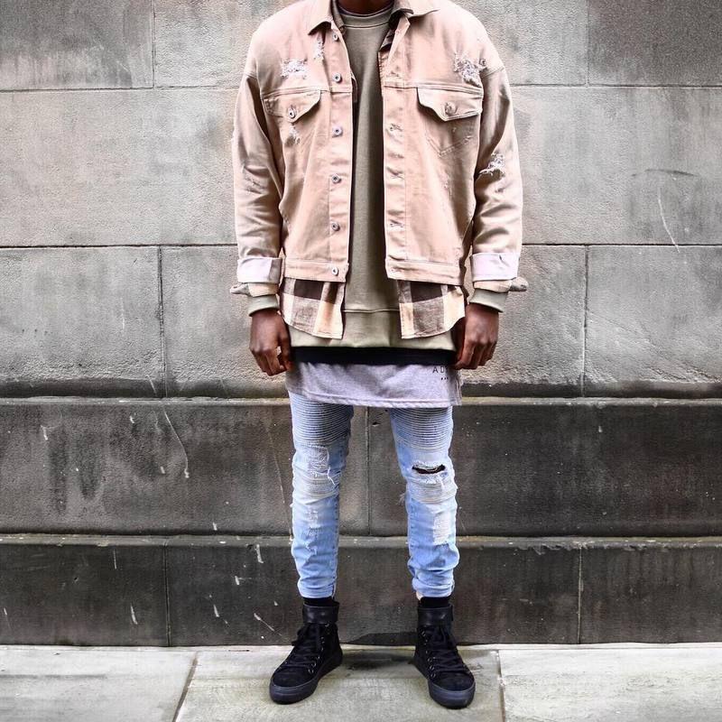 Compre Hip Hop Rockstar Jeans Hombres Ropa Kanye West Khaki   Denim Chaqueta  De Jean Negro Representan Chaquetas Y Abrigos De Ropa Para Hombre A  44.68  Del ... ac081c6984a