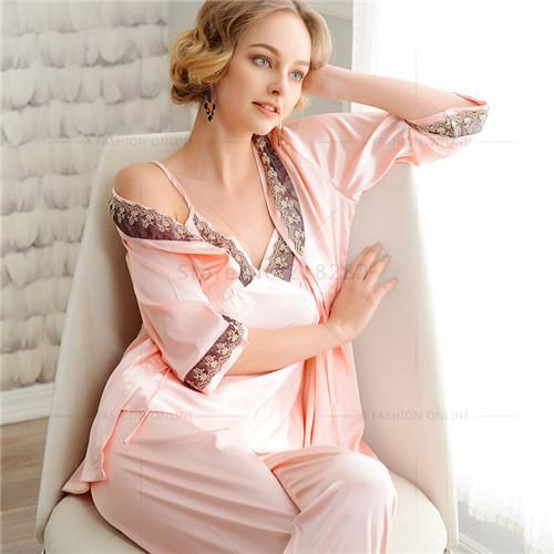 0b41c59d19 Wholesale- Elegent Women Pajama Sets Faux Silk Lace Nightgown Coat ...