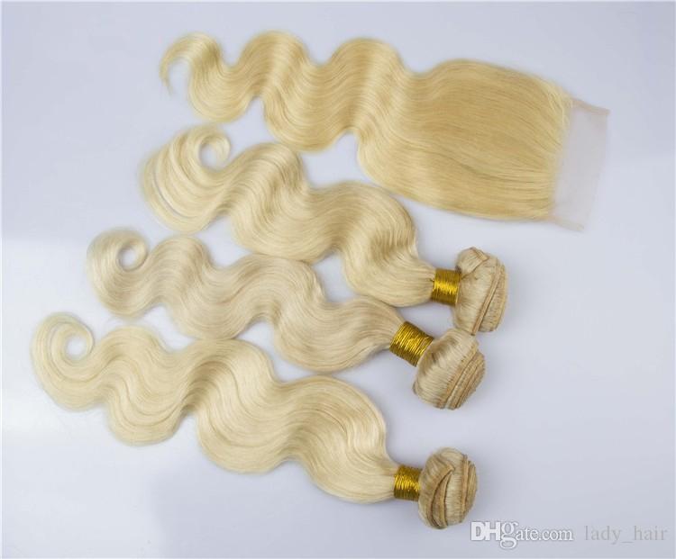 9A Vierge Cheveux blonds malaisiens avec fermeture Vague de Corps 4x4 Dentelle Top Fermeture Avec # 613 Bleach Blond Cheveux Vierges 3Bundles