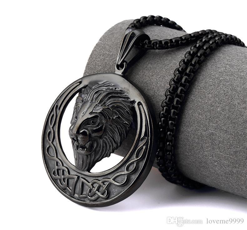 Рэппер мужчины хип-хоп нержавеющей стали ночной клуб золото серебро черный лев голова лицо змея цепи ожерелье королей Лев головы кулон ожерелья ювелирные изделия
