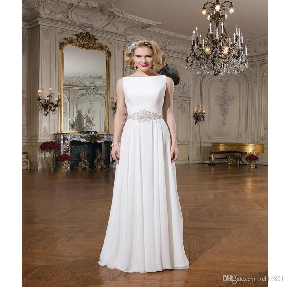 Elegant Wedding Gowns For Second Marriage: Elegant Simple Wedding Dresses Sleeveless A Line Court