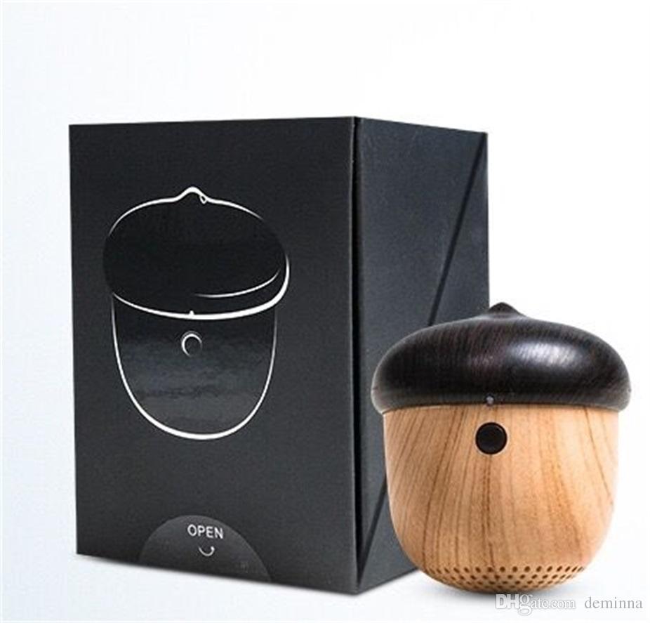Écrou haut-parleur en bois bluetooth mini conception unique avec microphone intégré sangle bois haut-parleur pour iPhone Android Retail Box