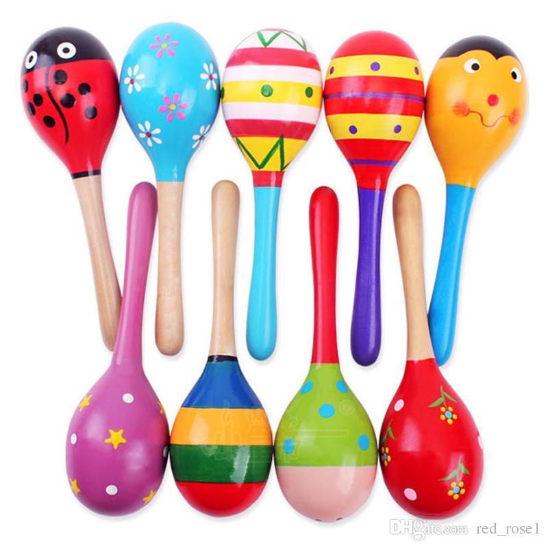 Çocuk Oyuncakları Ahşap Çıngıraklar Ahşap Maraca Bebek Çalkalayıcı Eğitici Çocuk Parti Müzik Aletleri Çıngırak Topu Renkli Karikatür Çekiç en iyi hediye