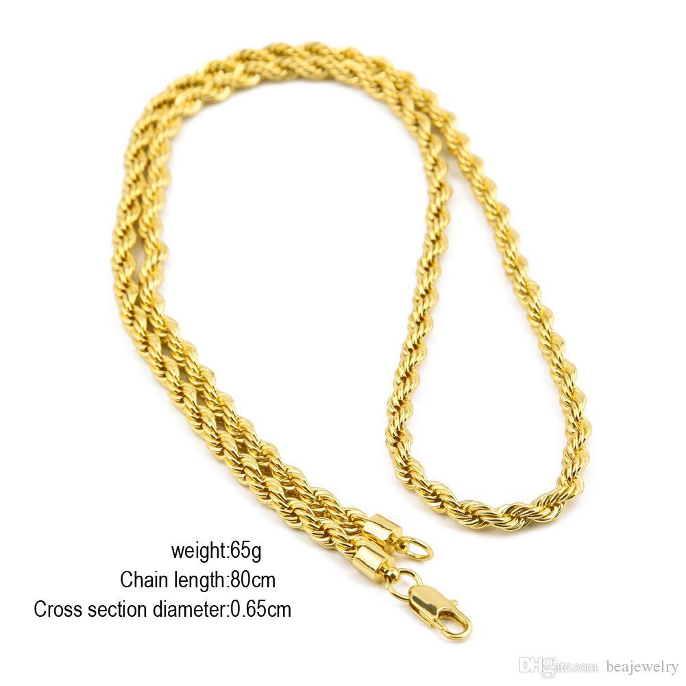 6.5mm de espesor 80cm de largo Cadena trenzada de cuerda sólida 14K Chapado en oro plateado Hip hop Twisted Heavy Collar 160gram Para hombres
