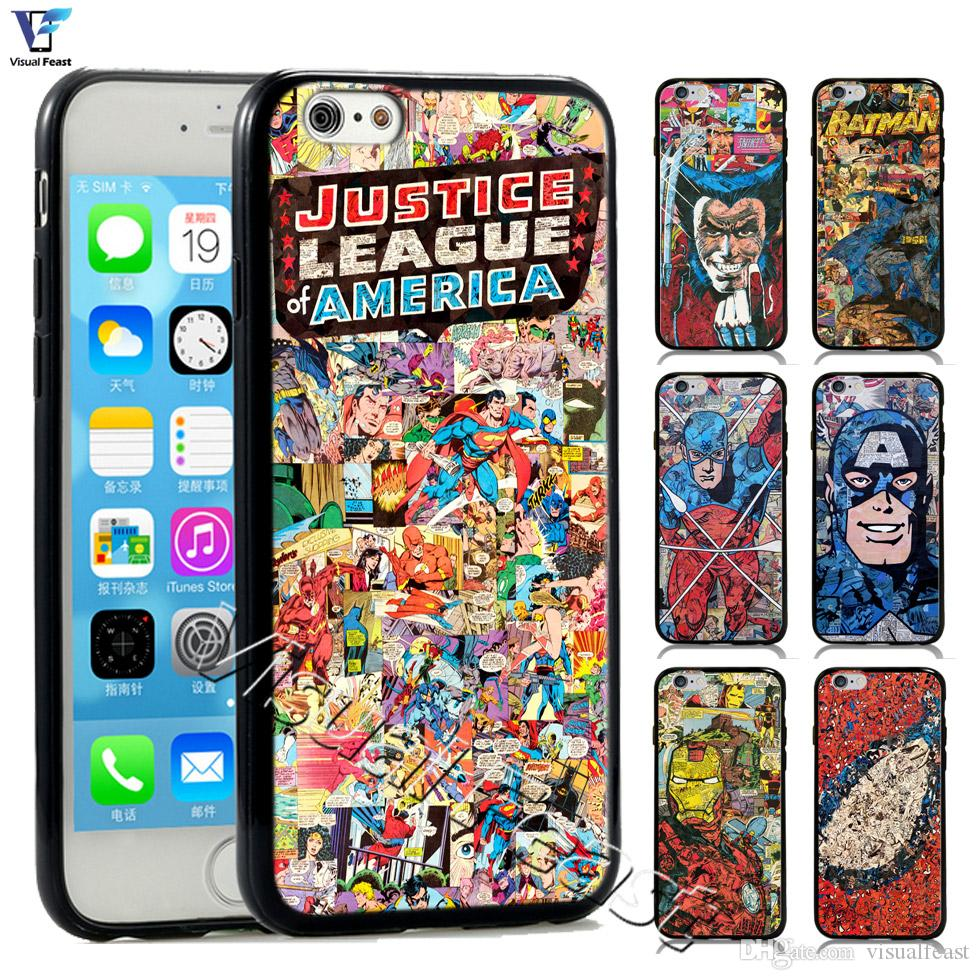 Superhero Comics Phone Case Spider Man Superman Batman Iron Man Wonder Woman Captain America For iPhone 6 6s Case Cover TPUPC Free Gift