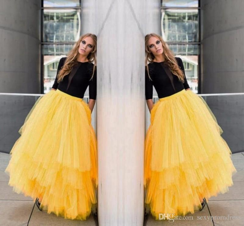 9d5ead8aa99 2019 New Fashion Yellow Maxi Adult Long Skirts Tutu Tulle Tiered Layers  Bust Skirts For Women Stylish Long Party Homecoming Dresses From  Sexypromdress