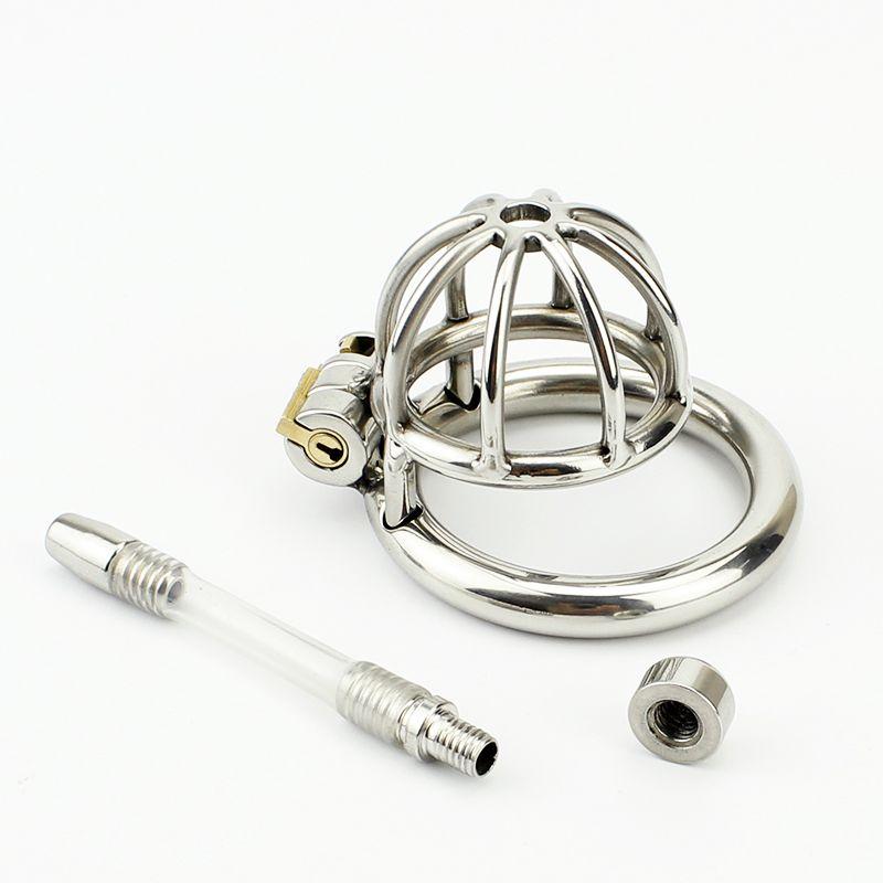 Cintura di castità Super Small Bondage maschile Cintura adulti in acciaio inox Cazzo BDSM Sex Toys Castità Dispositivo Short Cage
