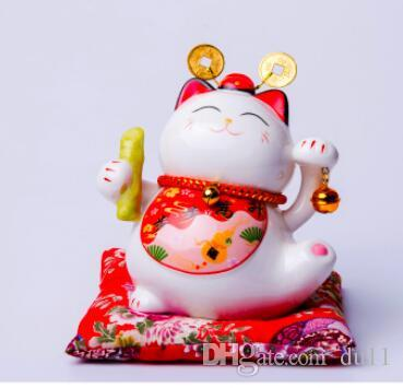 Cadeau créatif cadeau d'ouverture de magasin de chat en céramique fortune 5 pouces pour cadeau d'anniversaire pour économiser de l'argent