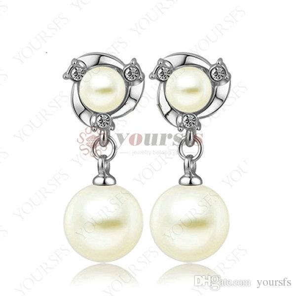 Yoursfs mode smycken 18k guldpläterad pärla zircon öra clip örhängen kvinna årsdag julklapp
