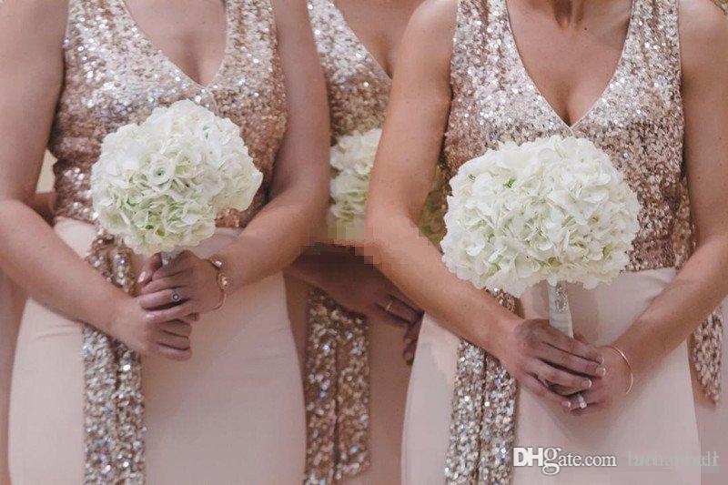 017 Neue Rose Gold Brautjungfer Kleider Eine Linie Spaghetti Backless Pailletten Chiffon Günstige Lange Strand Hochzeit BUTS Kleid Mädchen Ehrenkleid Gowns