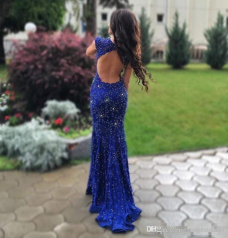 Sexy Sparkling Royal Blue Prom Dresses 2017 Open Back with Beadings Retro Lace Mermaid Pageant Party Gowns 2K17 Couples Fashion Party Gowns