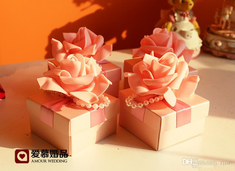 유럽 스타일 낭만적 인 꽃 결혼식 호의 사탕 상자 결혼식 파티 호의 선물 상자 초콜릿 상자 종이 상자