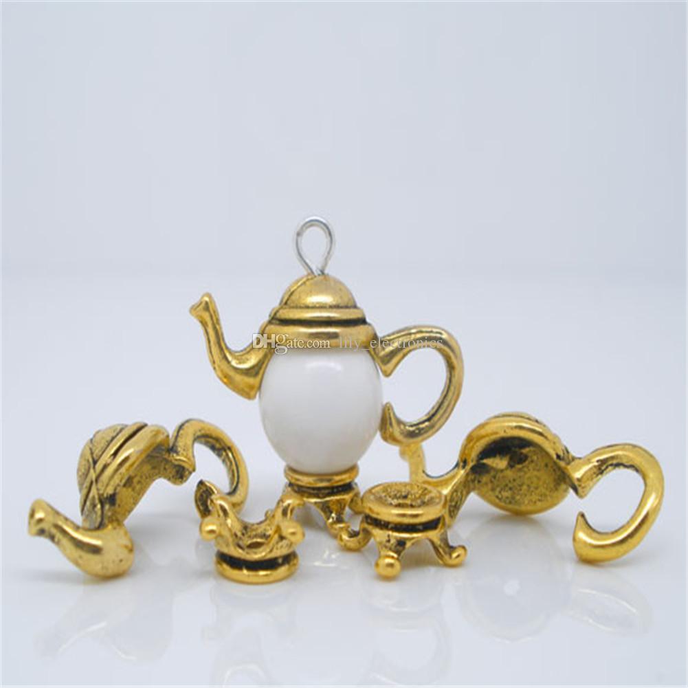 Liga de zinco 100 conjuntos de tom de ouro / Silve Tone Teapot Cap Bead Set Descobertas 21x9mm