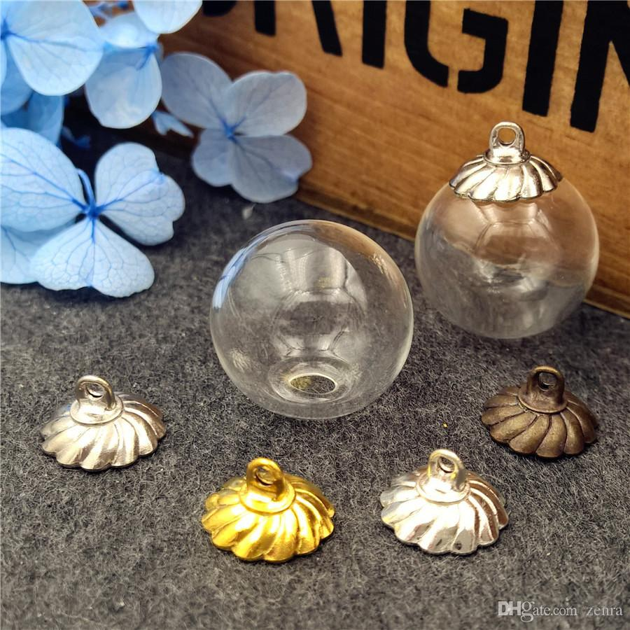 16mm empty glass globe ball bottle 4mm open with cap set glass vial pendant charms glass dome cover Christmas Decoration
