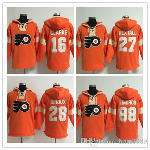 f4657f5b1 ... 2017 Philadelphia Flyers 27 Ron Hextall 28 Claude Giroux 16 Bobby  Clarke Cheap Hockey Hooded Stitched ...