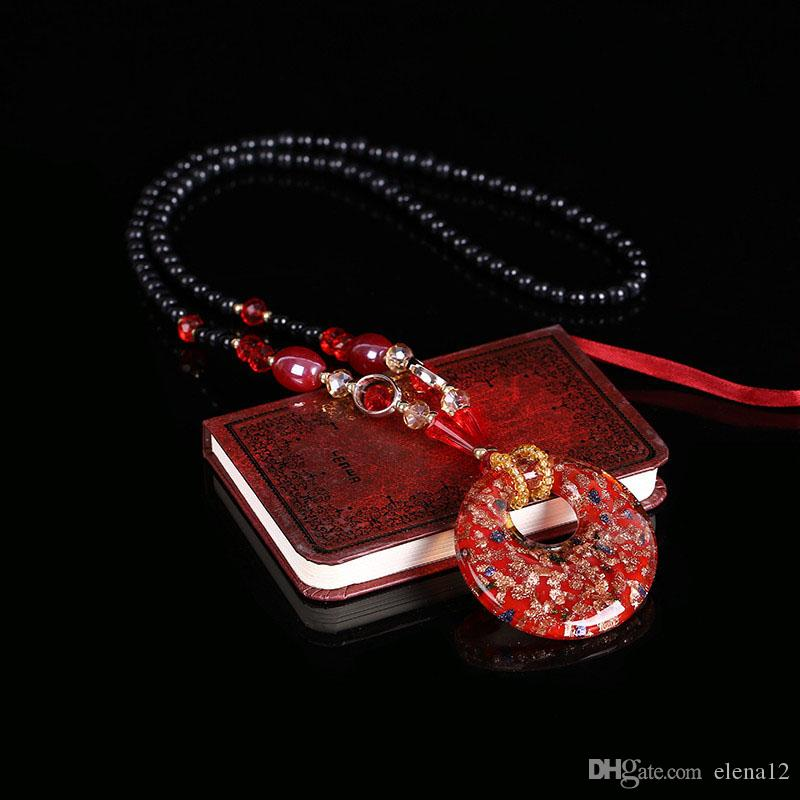 Этнические Украшения женские Длинные Ручные Стеклянные Бусины Подвеска Цепь Свитера All-match Декоративные Макси Ожерелье ювелирные изделия