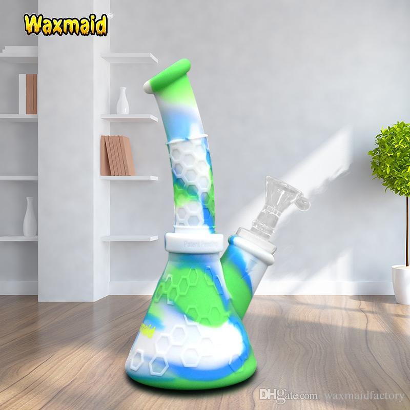 Новый Силиконовый стакан Бонг стекло Бонг Waxmaid Нерушимая мини Dab буровые установки для курения бонги со стеклянной чашей для сухой травы и масла 11 цветов